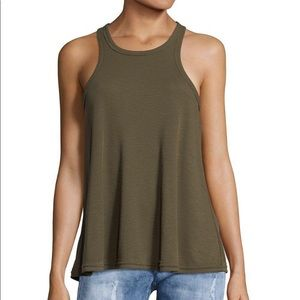 Free People Olive Green A Line Ribbed Tank Size S